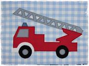 Babydecke Feuerwehr + Name