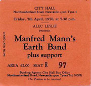 Ticket Stub - City Hall Newcastle UK 7-4-78