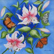 Farfalle nel blu - Olio su tela - 50x50 - 2010