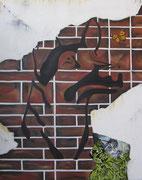 La Farfalla e il Guardiano del giardino segreto - Olio e malta corindone su tela - 100x80 - 2012