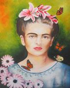 Rivisitazione di una più serena Frida Kahlo - Olio su tela - 40x50