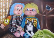 Sul divano...a guardare la TV - Olio su tela - 50x70 - 2011