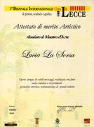 Attestato di partecipazione alla BIennale di Lecce