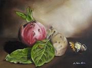La melagrana, le mele cotogne e la Farfalla - Olio su tela - 30x40 - 2011