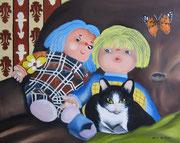 Sul divano...a guardare la TV (2) - Olio su tela - 40x50 - 2012 (Collezione Privata)