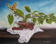 Le ciliegie e la Farfalla - Olio su tela - 40x50 - 2012