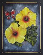 Farfalla e Fiori nel Cosmo - Olio su tela con applicazione foglia oro - 50x40 - 2011