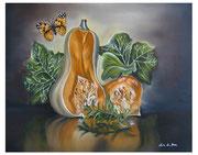 Zucca con Farfalla Vanessa - Olio su tela - 40x50 - 2011
