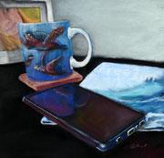 """Teatime"" Pastell, 9x12 inch, UART dark (C) D.Saul 2020"