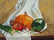 """""""Pumpkin-Chilli-Soup"""",Pastell, 29x39xm,(c)D.Saul 2014"""