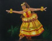 """Hula kahiko"" Pastell, 9x12 inch (C) D. Saul"