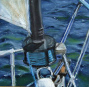 """Segeln I"" Pastell, 13x13cm, (C)D.Saul 2012, private collection"