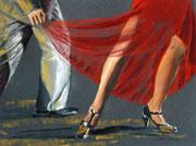 """El vestido rojo"" Pastell 29x39cm,(c)D.Saul 2014"