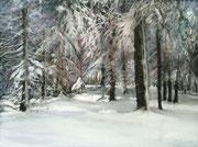 """Silent forest"" Pastell, UART 400 dark, 22x29cm, 9x12´, (C) D. Saul 2018"