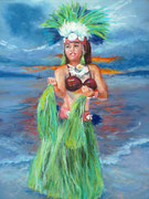 """Little hawaian dancer"" Pastell 22x30cm, (C) D.Saul 2015"