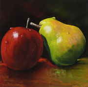 """Pear loves apple"",Pastell 23,5x23,5cm, (c)D.Saul 2014"