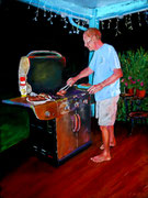 """""""Ed´s BBQ"""" Pastell 9x12inch (C) D. Saul  sold"""