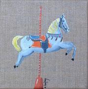 """""""Cheval de manège"""" - acrylique - 20 x 20 cm"""