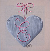 """""""Coeur monogramme E"""" - acrylique - 20 x 20 cm"""