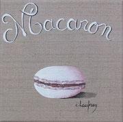 """Macaron blanc"" - acrylique - 20 x 20 cm"