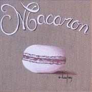"""Macaron vanille-caramel"" - acrylique - 20 x 20 cm"