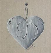 """""""Coeur monogramme D"""" - acrylique - 20 x 20 cm"""