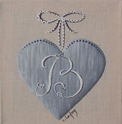 """""""Coeur monogramme B"""" - acrylique - 20 x 20 cm"""