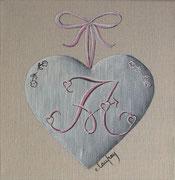 """""""Coeur monogramme A"""" - acrylique - 20 x 20 cm"""