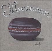 """Macaron chocolat-caramel"" - acrylique - 20 x 20 cm"