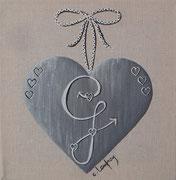 """""""Coeur monogramme G"""" - acrylique - 20 x 20 cm"""