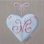 """""""Coeur monogramme M"""" - acrylique - 20 x 20 cm"""