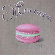 """""""Macaron fraise-pistache"""" - acrylique - 30 x 30 cm"""