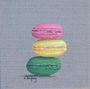 """""""Trio de macarons"""" - acrylique - 20 x 20 cm"""