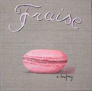 """Macaron fraise"" - acrylique - 20 x 20 cm"