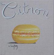 """Macaron citron"" - acrylique - 20 x 20 cm"