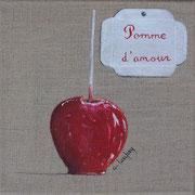 """""""Pomme d'amour"""" - acrylique - 20 x 20 cm"""
