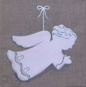 """Ange rose"" - acrylique - 20 x 20 cm"