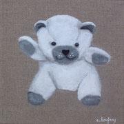 """""""Nounours blanc"""" - acrylique - 20 x 20 cm"""