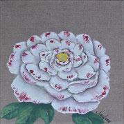 """""""Pivoine blanche"""" - acrylique - 20 x 20 cm"""