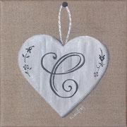 """""""Coeur monogramme C"""" - acrylique - 20 x 20 cm"""