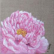 """""""Pivoine rose"""" - acrylique - 20 x 20 cm"""