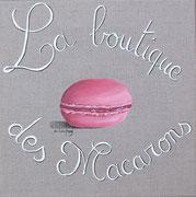 """""""La boutique des macarons"""" - acrylique - 30 x 30 cm"""