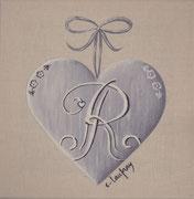"""""""Coeur monogramme R"""" - acrylique - 20 x 20 cm"""