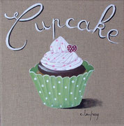 """Cupcake vert"" - acrylique - 30 x 30 cm"