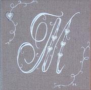 """""""Monogramme M"""" - acrylique - 20 x 20 cm"""