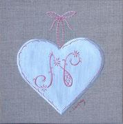 """""""Coeur monogramme N"""" - acrylique - 20 x 20 cm"""