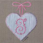 """""""Coeur monogramme J"""" - acrylique - 20 x 20 cm"""