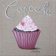 """Cupcake coeur"" - acrylique - 20 x 20 cm"
