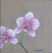 """""""Orchidée rose"""" - acrylique - 20 x 20 cm"""