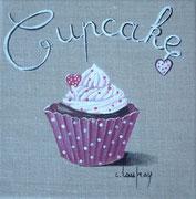 """Cupcake coeurs"" - acrylique - 20 x 20 cm"